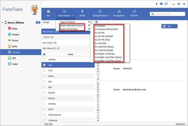 Exportar Contactos Outlook iPhone FoneTrans