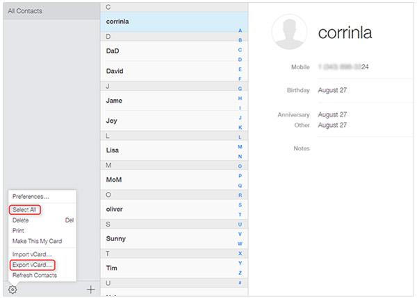 Exportar Contatos iCloud.com iPhone FoneTrans