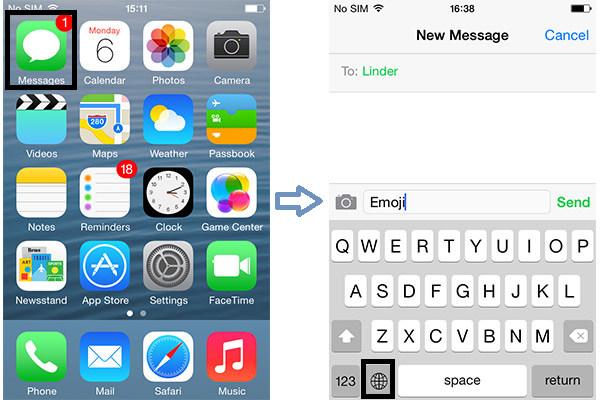 Pasos 1 y 2 Usar teclado emoji iPhone