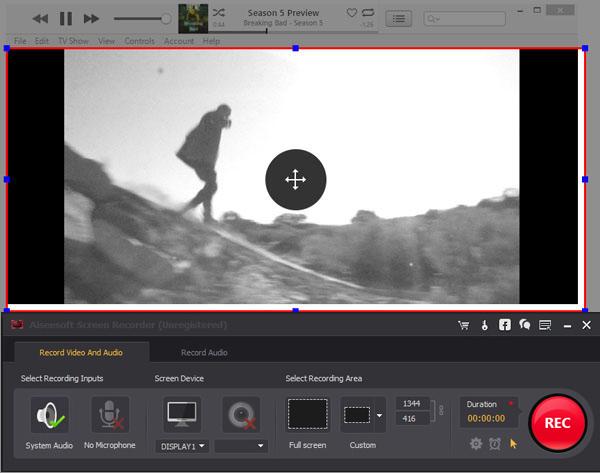 Remover DRM vídeos iTunes área de captura ScreenRecorder