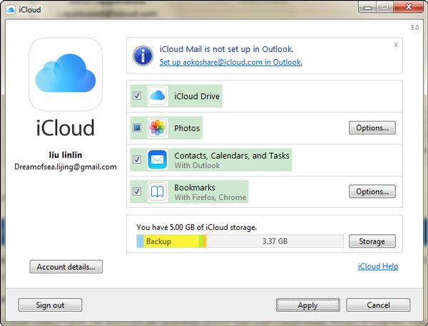 Tipos de Datos iCloud Windows FoneTrans