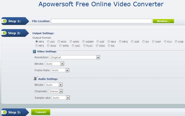 Converter vídeos Apowersoft Online