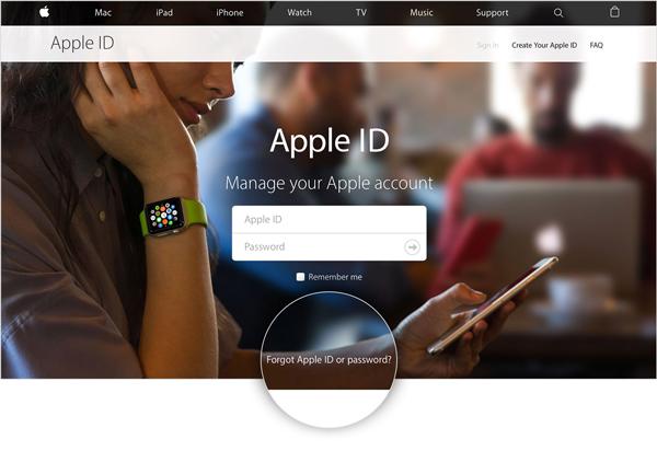 Esqueceu senha ID Apple site