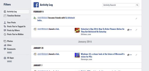 Limpar histórico Facebook navegador Passo 2