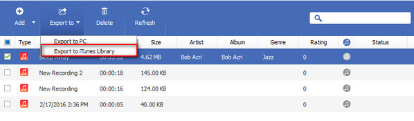 Pasar canciones iPod PC FoneTrans - exportar librería