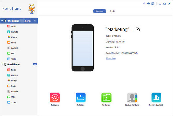 Paso 2 Pasar archivos para iPhone nuevo