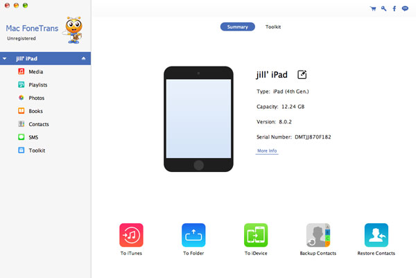 Paso 2 Transferir videos iPad para Mac FoneTrans Mac