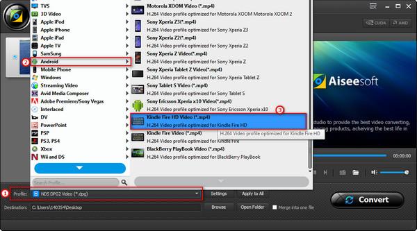 Passo 3 Converter vídeos WMV para MP4 Kindle Fire
