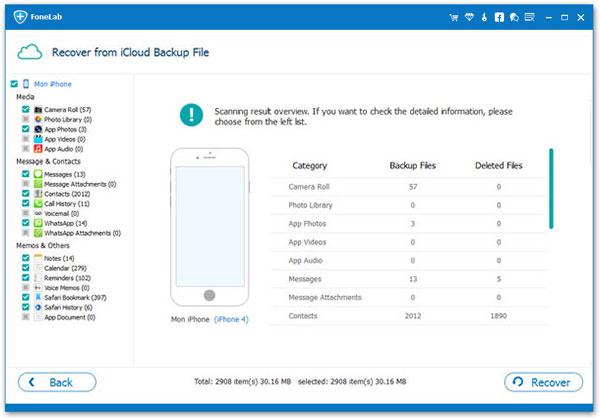 Restaurar backup icloud Aiseesoft FoneLab passo 3