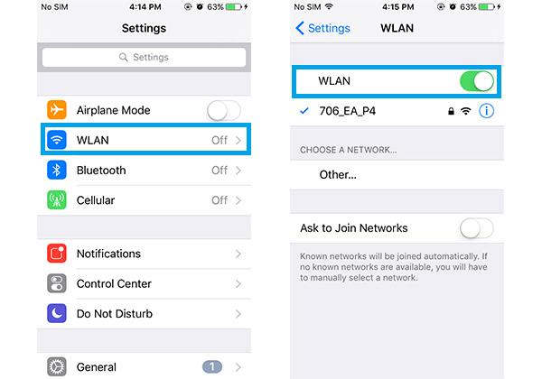 Não envia fotos verificar rede wi-fi