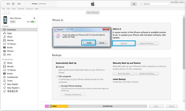 Actualizar iPhone iTunes paso 2