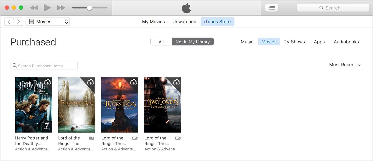 Baixar novamente filmes biblioteca iTunes