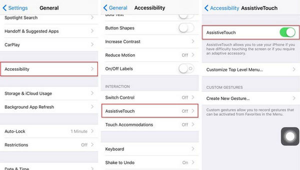 Tomar capturas de pantalla Assistive Touch paso 1