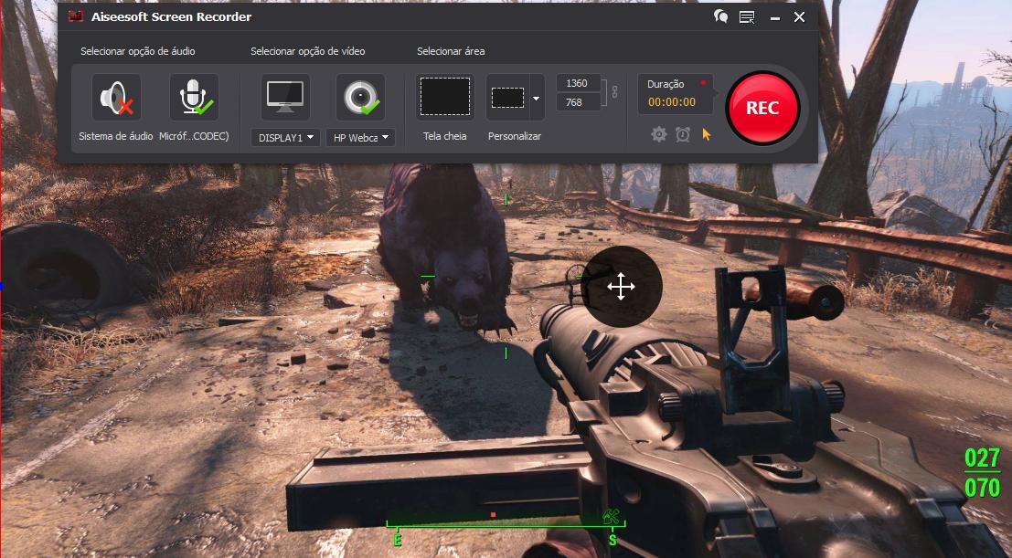 Abrir el Fallout 4 y hacer clic en el botón REC para comenzar a grabar
