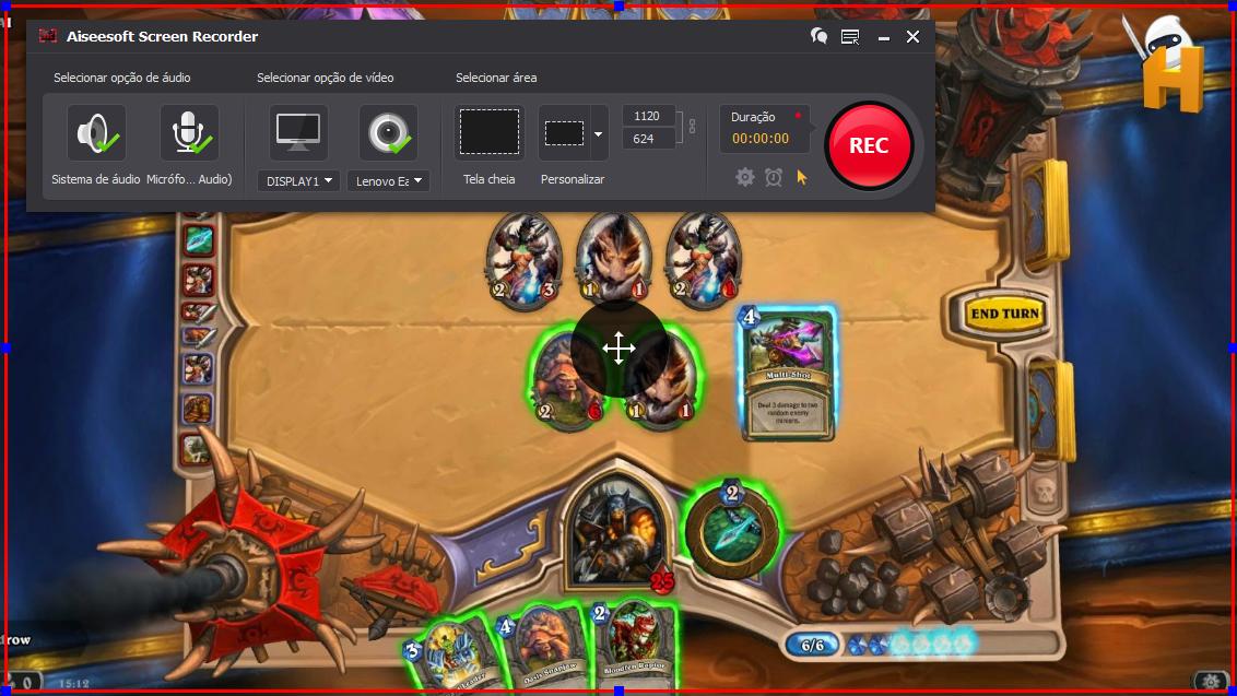 Abrir el Hearthstone: Heroes of Warcraft y hacer clic en el botón REC para comenzar a grabar