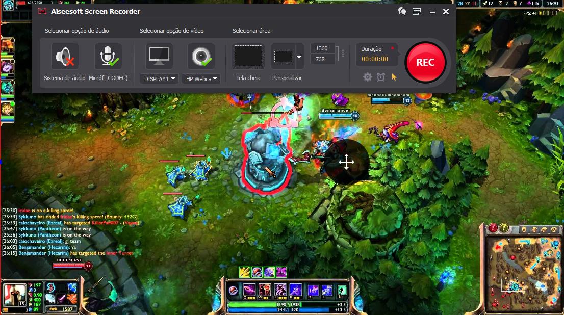 Abrir el League of Legends y hacer clic en el botón REC para comenzar a grabar
