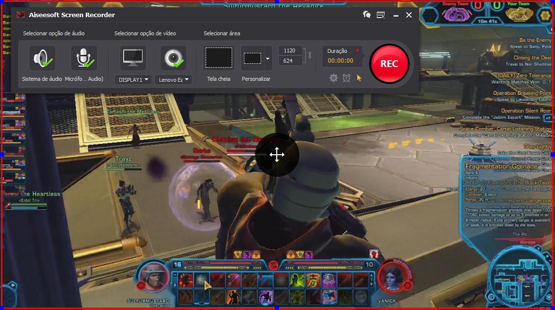 Abrir el Star Wars: The Old Republic y hacer clic en el botón REC para comenzar a grabar