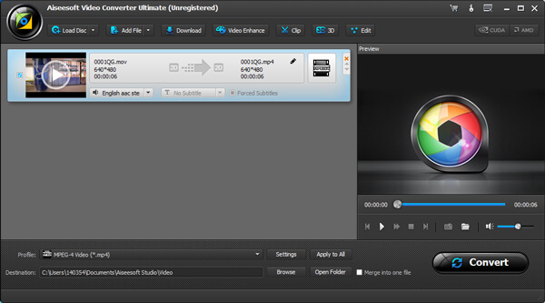 Convertir videos MOV Android Aiseesoft Video Converter Ultimate paso 2