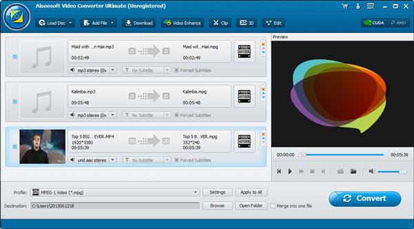 Passo 1 combinando áudios Video Converter Ultimate