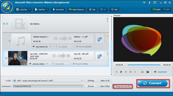 Passo 4 combinando áudios Video Converter Ultimate