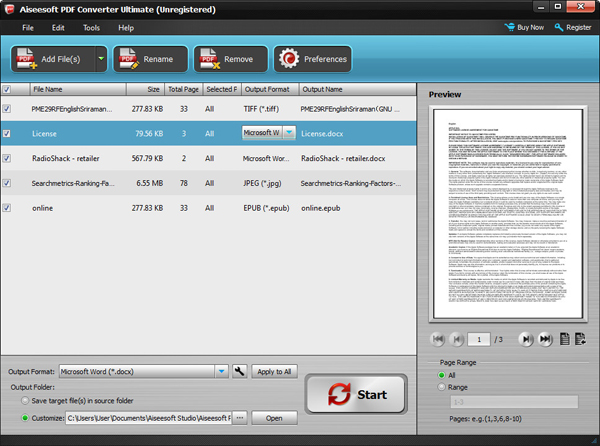 separar archivos pdf con aiseesoft pdf converter ultimate