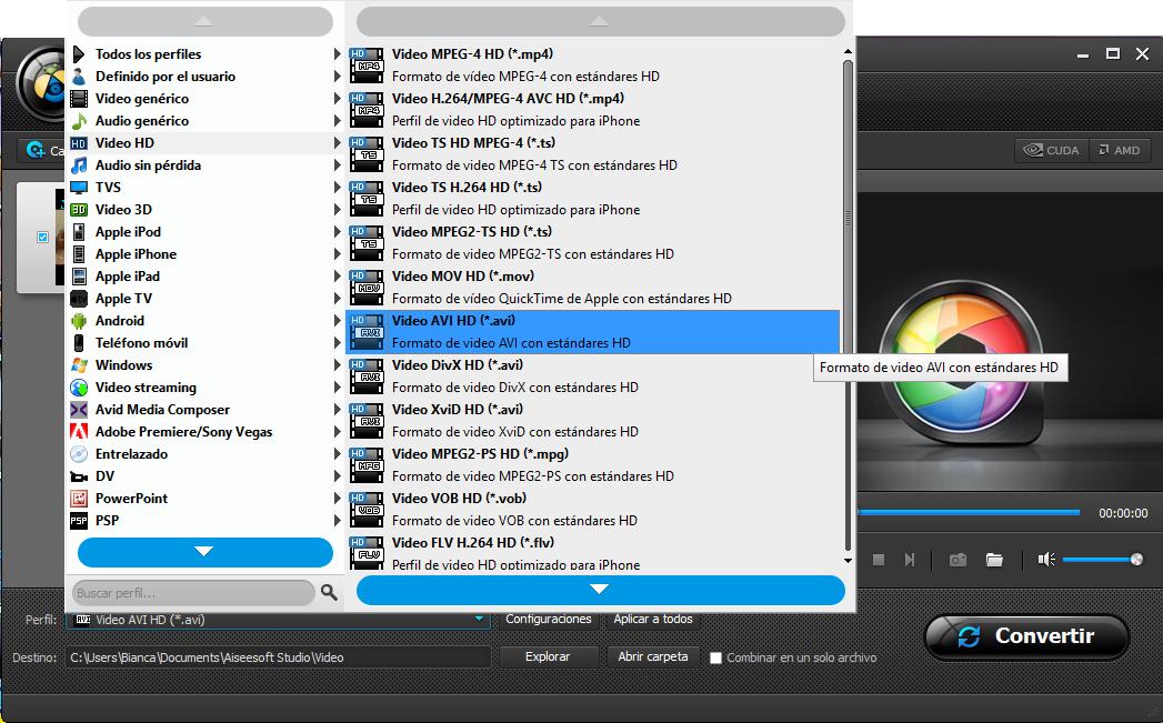 Converter formato de video