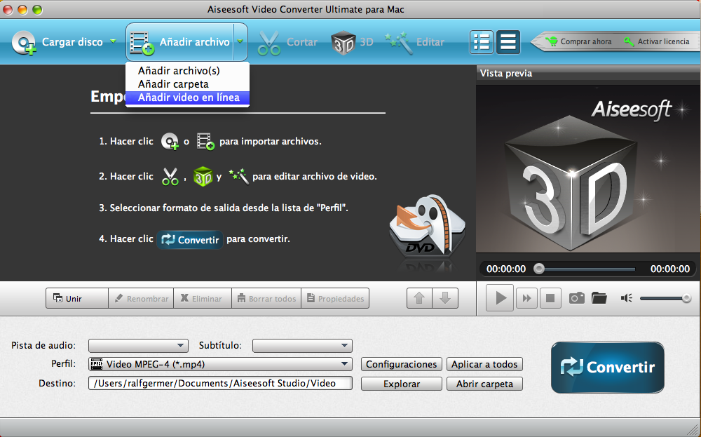 Panel principal do Aiseesoft Video Converter Ultimate para Mac