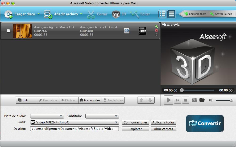 Seleccionar formato de video para converter