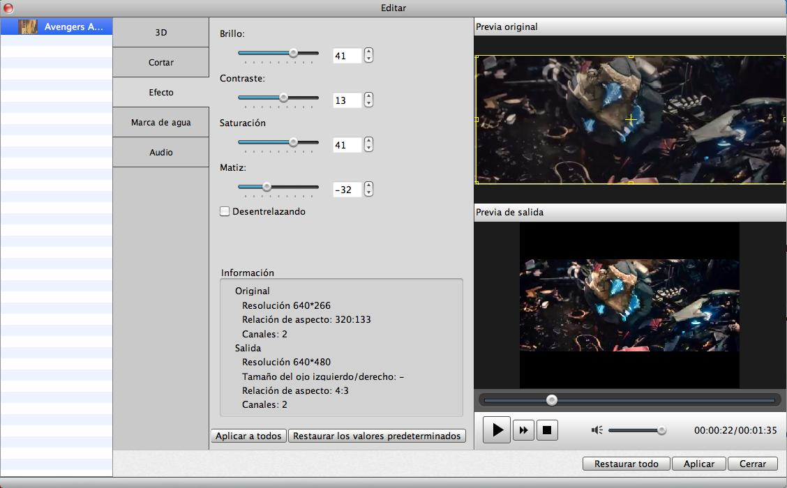 Añadir efecto en video
