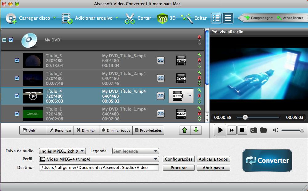 Escolher vídeo do DVD para converter