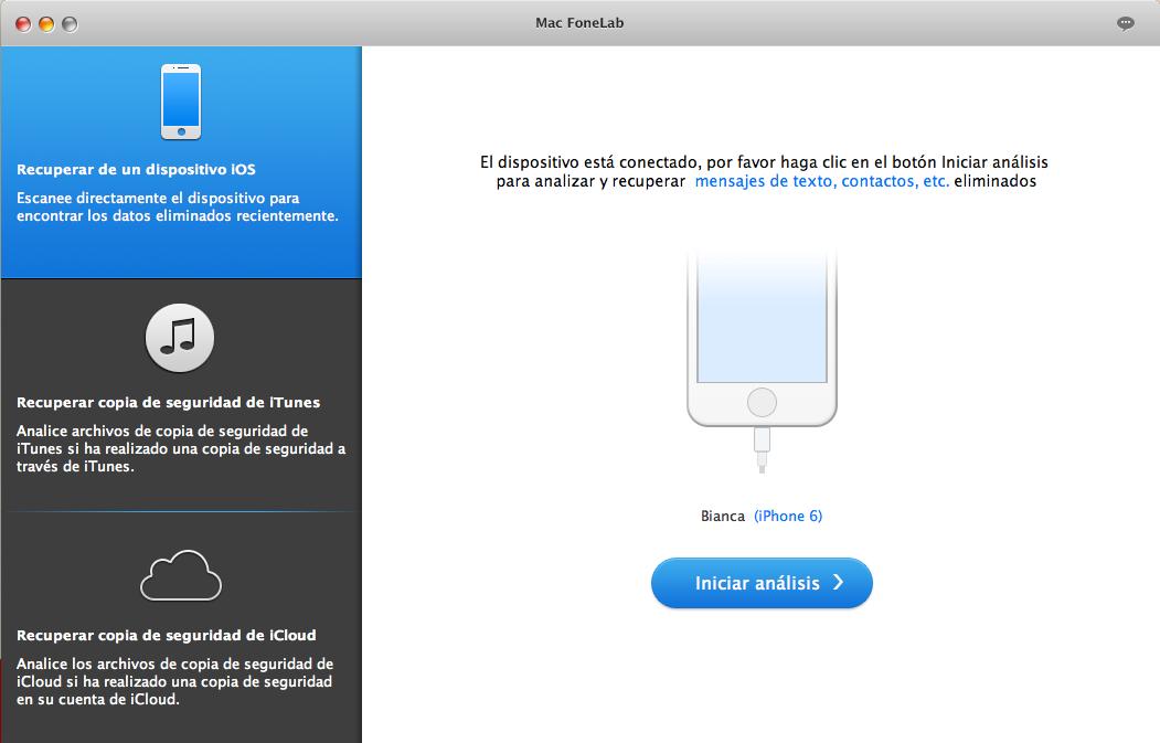 Pantalla principal de FoneLab para Mac