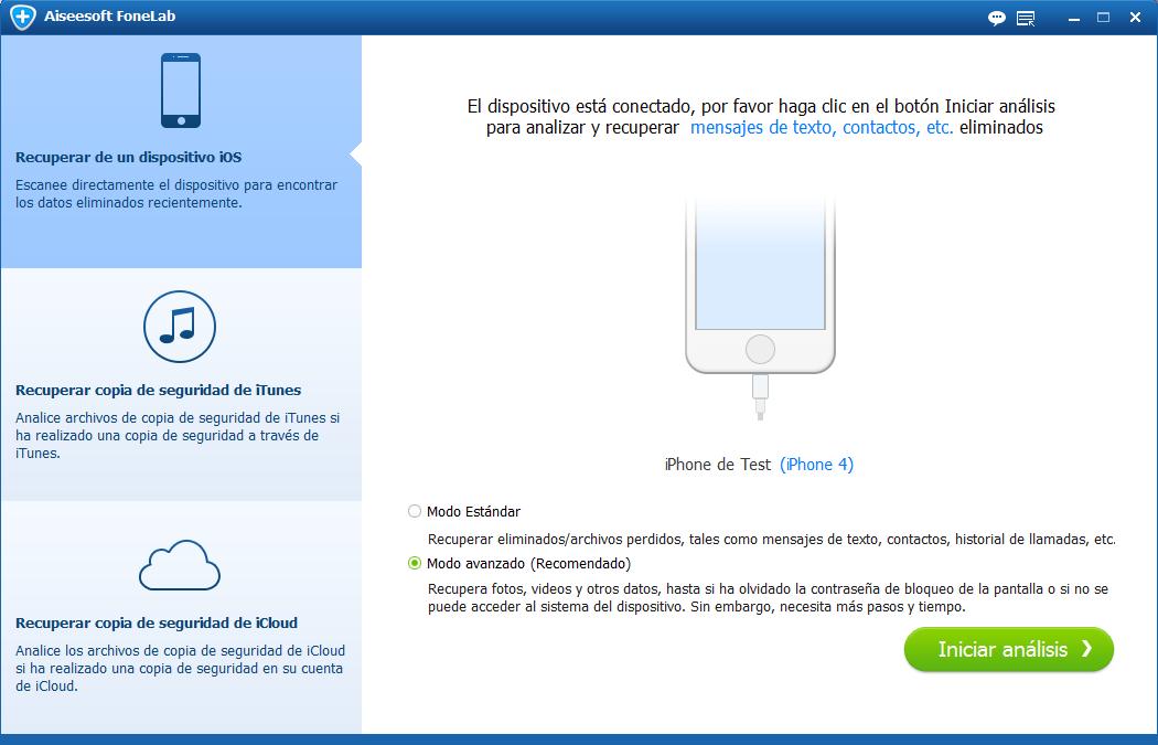 Recuperar de dispositivo iOS