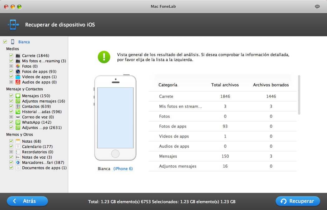 Restaurar datos perdidos de iPhone