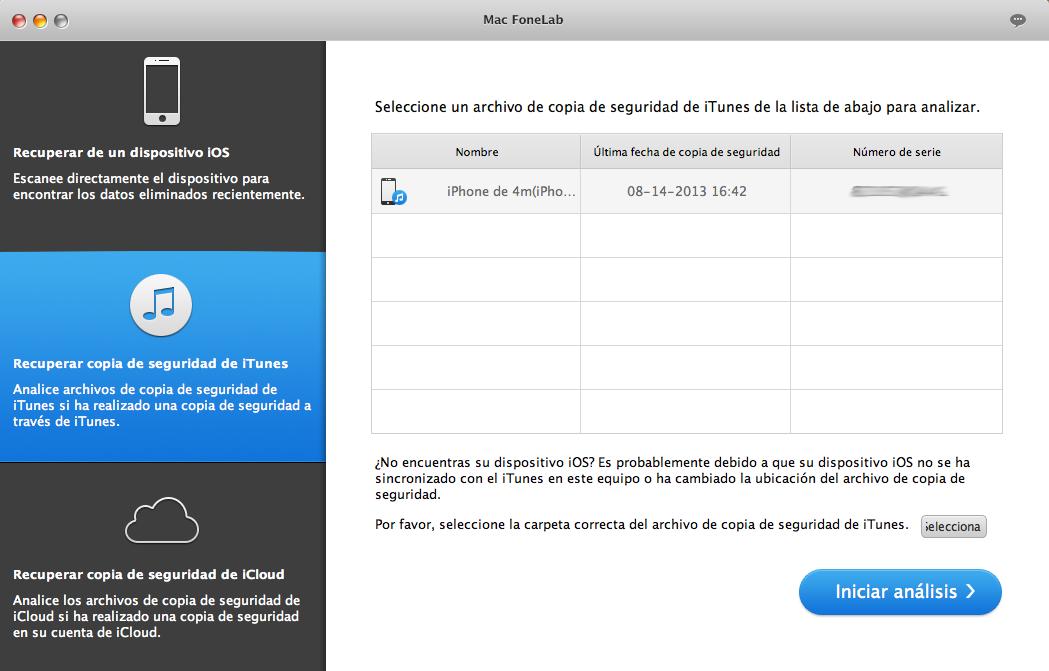Recuperar de copia seguridad de iTunes