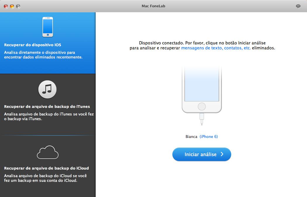 Tela principal do FoneLab para Mac