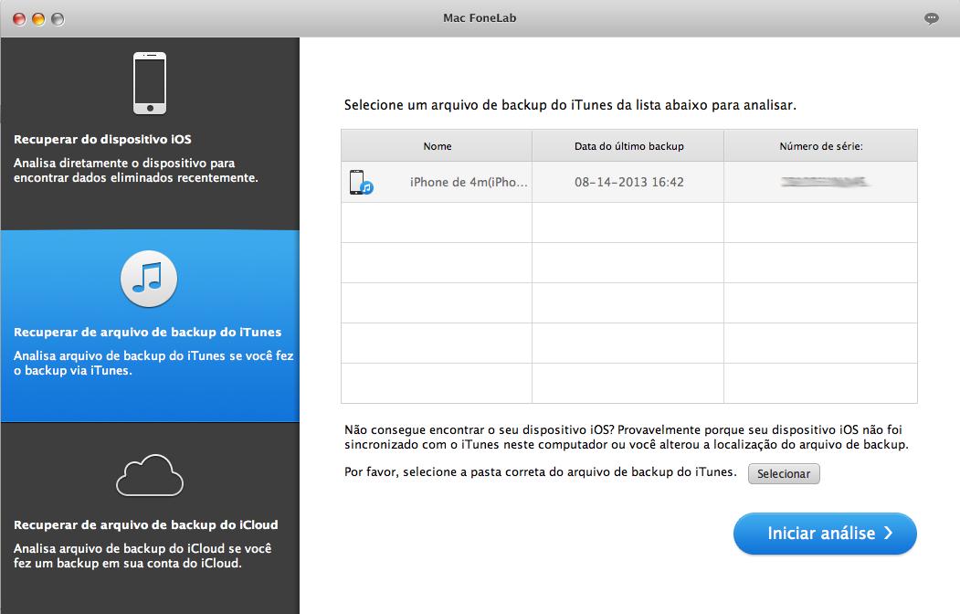 Recuperar de backup de iTunes