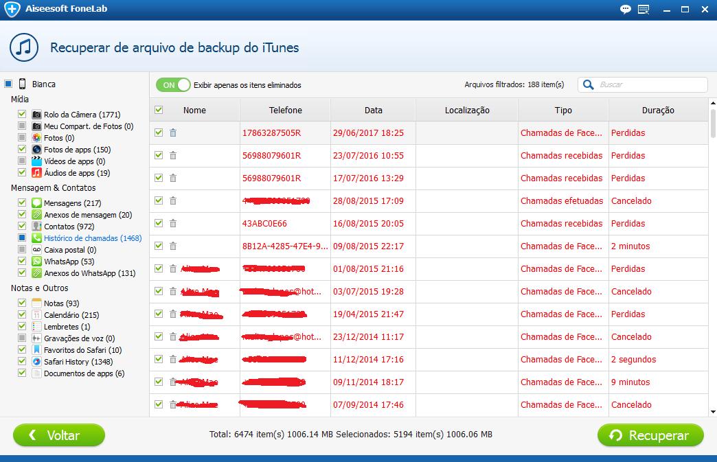 Entre em sua conta do iCloud e escolha um arquivo de backup