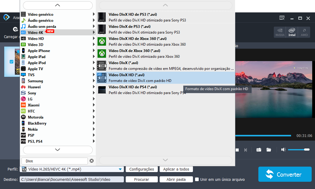 Escolha o formato DivX HD Video para sua conversão de vídeo