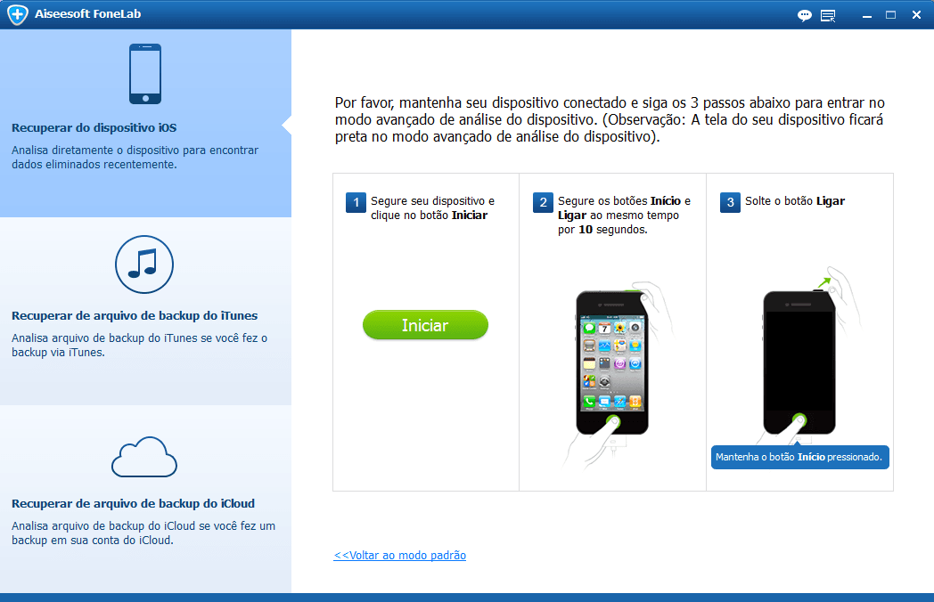Siga as instruções do programa para fazer backup iPhone