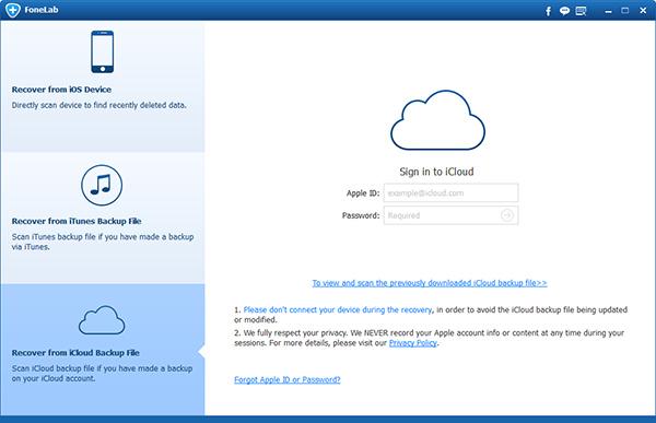 Seleccionar el modo Recuperar de archivo de copia de seguridad de iCloud