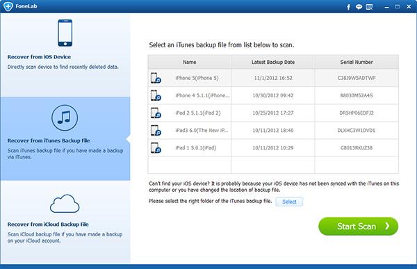 Escoger el modo Recuperar de archivo de copia de seguridad de iTunes
