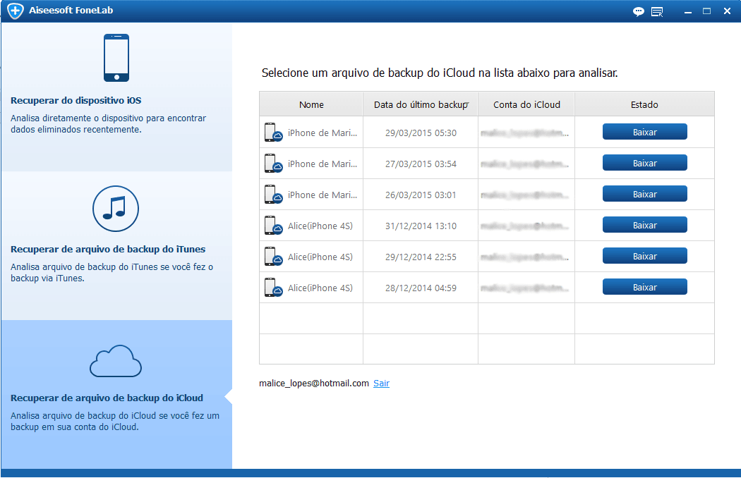 Selecione seu arquivo de backup