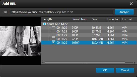 Insertar el URL del video que desee bajar
