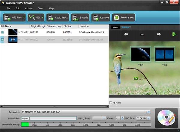 Adicionar sus archivos en MKV al programa