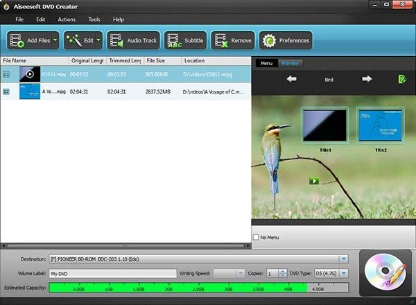 Abrir sus videos MPG en el programa