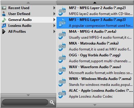 Seleccionar el formato MP3 en la opción Perfil