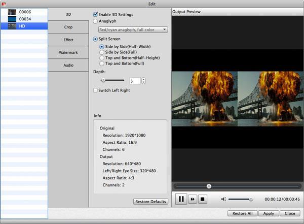 Transformar su video en 3D