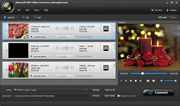 Adicionar sus archivos en MP4 al Aiseesoft