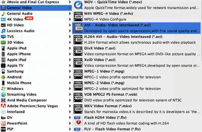 Seleccionar el formato AVI en la lista de perfiles
