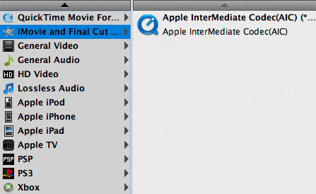 Seleccionar el formato Apple InterMediate Codec
